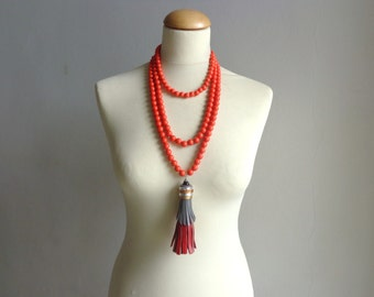Poppy red tassel Statement necklace longer style multistrand