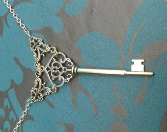 Gothic Steampunk Tibetan Silver Plated Metal Filigree Key Necklace