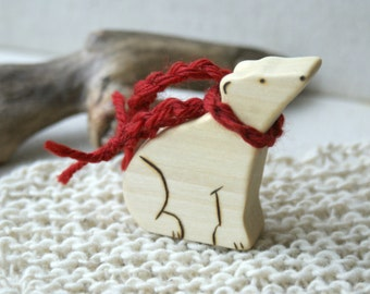 Wood n Wool Friend- Polar Bear (ready to ship)
