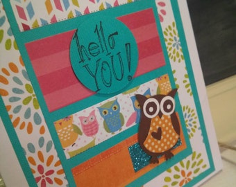 Hello You! Friendship Greeting Card Friendship Encouragement Card Owl