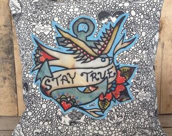 Stay True, Swallow & Anchor Nautical Cushion, Handmade