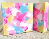 Sugar Rush 2 Original Art Acrylic Painting Abstract Style, Painted Canvas 6 x 6 inch
