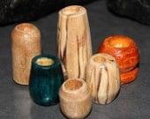 6 Handmade Wooden Dread Beads - 7MM - 12MM Holes
