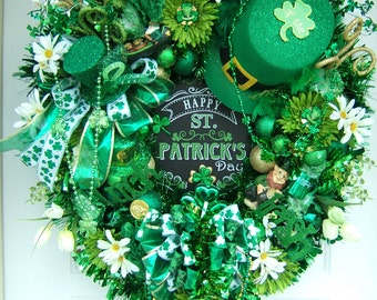 Amazing St Patrick's Day wreath, XXL, Door wreath, floral wreath,leprechaun , Ireland, Irish wreath, Front door wreath