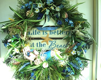 XXL Beach wreath, Huge Spring, Summer wreath, Beach, ocean, sea, Pool, seashore wreath, Door wreath, Nautical, sailboat, tropical wreath