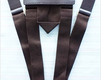 Genuine Dark Brown Leather Backpack Strap with Cotton webbing Handle Bag Supply