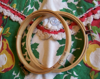 2 vintage wooden embroidery hoops