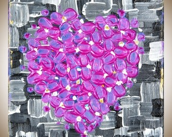 "Abstract heart painting pink black white painting gift for her Valentine's Gift wall art canvas art mixed ""Love"" by QiQiGallery"