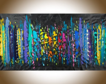 """Extra Large wall art 60""""colorful Abstract red yellow orange blue green purple violet """"City that never sleeps""""by QiQiGallery"""