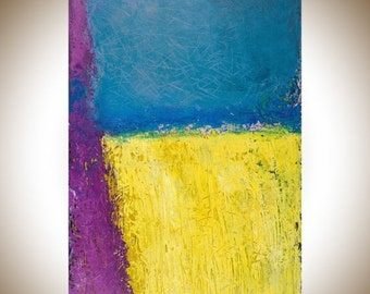 "Sale Colorful Abstract art original artwork home office wall art canvas art yellow blue purple pink ""Spring Field"" by qiqigallery"