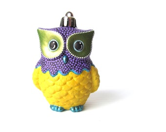 Yellow and Purple Owl Ornament: Shatter Resistant Hand Painted plastic Owl Ornament Yellow and Purple
