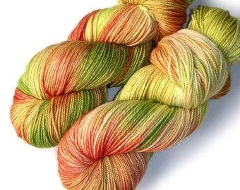 NEW MCN Sock Yarn Handdyed Merino Cashmere Nylon Yarn - Nothing Says Summer Like a Tomato, 433 yards