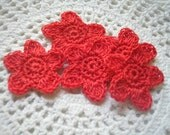Crochet Red Star Appliques set of 5