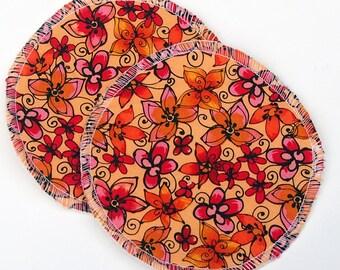 "Large Reusable Nursing Pad Set in Bamboo/Organic Cotton with hidden PUL - quilter's cotton top - ""Autumn Petals"""