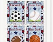 Sports, Nursery wall art, Sports art prints, Sports Printable, Instant Download, Sports Wall Art, Set of 4, Boys room decor, Blue, Red