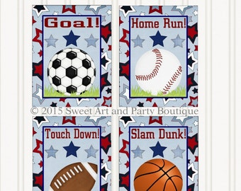 Sports, Nursery wall art, Sports art prints, Sports Printable, Instant Download, Sports Wall Art, Set of 4, Boys room decor, Blue, Red