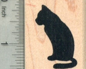 Cat Silhouette Rubber Stamp E30020 Wood Mounted