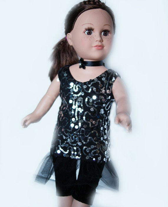 3-piece Black Dress, Capris and Neckband Set with Sequined Detail for American Girl and other 18-inch Dolls