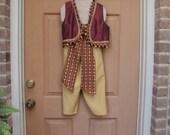 RESERVED FOR CHRISTINA--Genie costume, vest, pants and sashAladdin costume, pirate , renaissance vest, Gypsy ,Genie vest, renaissance vest,