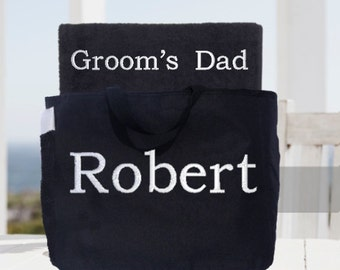 Wedding Party Towel and Tote Gift Set!  Groom's Dad, Bride's Dad Towel and Tote Set!