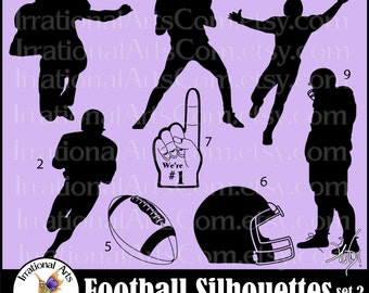 Football Silhouettes set 2 - with 8 Vector Vinyl Ready Images SVG EPS and PNG file formats Quarterback  receiver helmet {Instant Download}