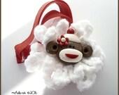 Sock Monkey Adjustable Planner Journal Band Red and White Crochet Flower