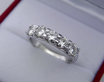 AAAA Moissanite Forever Brilliant Five stone anniversary band. 4mm 14K white gold. MMM