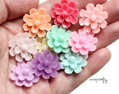 20pc sakura flower cabochons / shiny resin flat back flowers / spring pastel colors: pink, peach, lilac, mint / resin flower cab mix / 20mm
