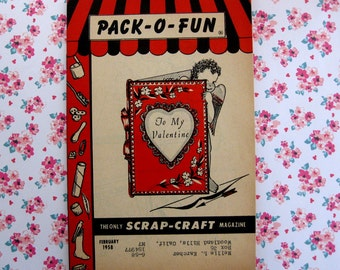 Vintage Pack O Fun Craft Book, How to Make Honeycomb Hearts and More, 1958