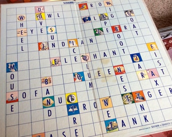 1958 SCRABBLE BOARD GAME, juniors, childrens educational game, double sided, graphics, words