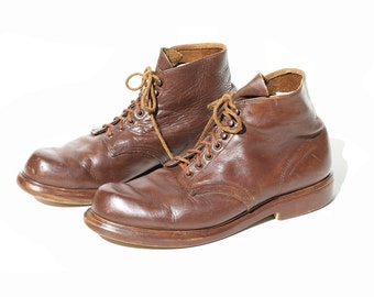 Vintage Men's Brown Leather Ankle Boots / Red Wing Boots / size 13