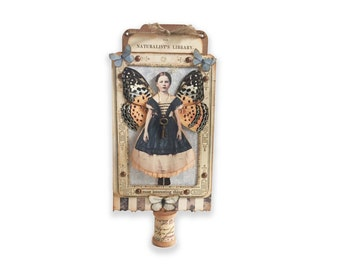 Fairy Child Assemblage, Miniature Collage, Spool Fairy, Small Girl Fairy Wings, Mixed Media Art Collage, Fantasy Fairy Artwork,