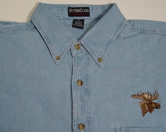 MOOSE Wildlife Embroidered Small to 4XL Long Sleeve Light Blue Denim Shirt - Price Embroidery Apparel