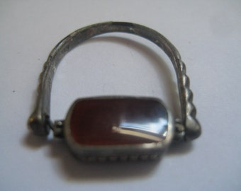 Vintage Sterling Silver Flip Ring with Carnelian Mother of Pearl and Onyx