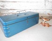 Vintage Industrial Blue Metal Tool Box