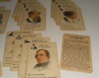 Vintage Authors Card Game, Witman Card Game