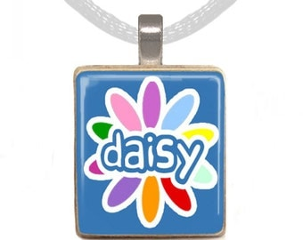 Daisy Scrabble Pendant, Scrabble Necklace, Daisy Necklace, Girl Scout Necklace, Gift for Her (Daisy Necklace)