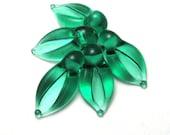 Emerald LEAF BEADS, Lampwork Leaves, handmade jewelry supplies, transparent green leaves, esmeralda, glass leaf bead