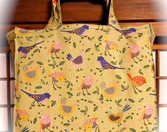 Bird Tote Bag, Colorful Birds Tight 'N' Tidy Tote Bag, Reusable Folding Shopping Bag, Yellow Blue Orange Green Red Pink White, Wild Birds