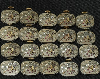 Vintage Antique small Rounded Square Wittnauer Watch Movements Steampunk Altered Art CD 86