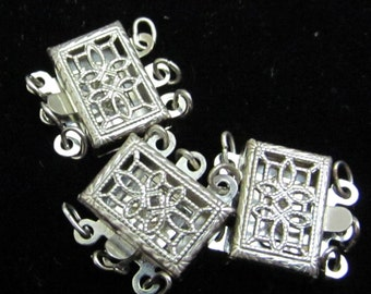 Gorgeous vintage Sterling Filigree Clasps