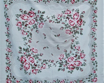 Vintage Tablecloth Pink Roses Table Cloth Shabby Cottage Chic