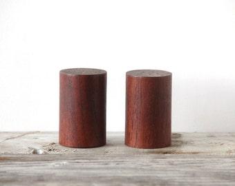 Modern Teak Salt and Pepper Shakers