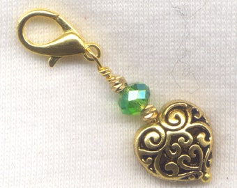 Heart of Gold Stitch Marker Clip Emerald Bling Lace Heart Single /SM252A