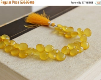 Clearance SALE Lemon Yellow Chalcedony Briolette Gemstone Faceted Heart 12 to 13mm 24 beads 1/2 Strand Wholesale