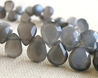 Grey Moonstone Gemstone Briolette Faceted Pear Teardrop 9 to 10mm 18 beads