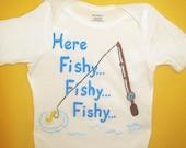 Baby Boy Fishing Bodysuit, Baby Fish Shirt, Here Fishy Fishy, Baby Fisherman, Baby Boy Fish Outfit