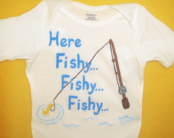 Baby Boy Fishing Bodysuit, Baby Fish Shirt, Here Fishy Fishy, Baby Fisherman, Baby Boy Fish Outfit