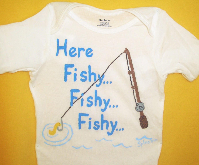 Baby boy fishing bodysuit baby fish shirt here fishy fishy for Baby fishing shirts