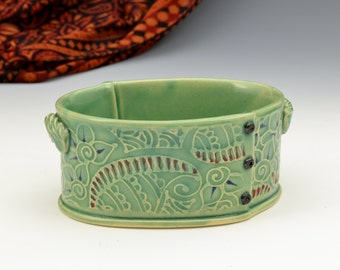 Small Casserole In Green Indian fabric inspired